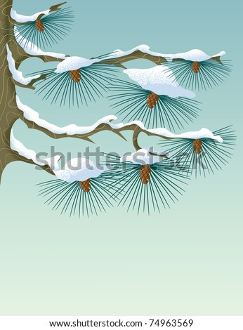 Pine branch in pastel color palette