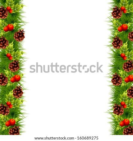 pine branches fir border christmas design - stock vector
