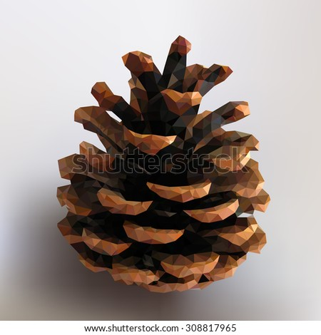 Pine cone vector illustration. Pine cone - illustration of a many triangles. - stock vector