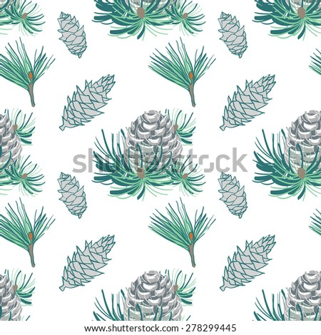 Pine fir christmas tree cedar spruce and cones seamless pattern vector illustration. Seamless pattern with cones and fur-tree branches.Vintage background for fabric, scrapbook, greeting cards.  - stock vector