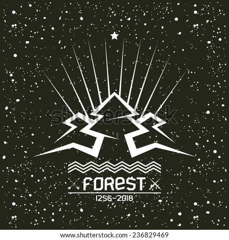 Pine forest in geometric lines style with texture. White print on a black background