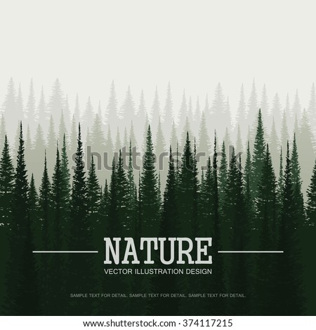 Pine forest in morning. Nature landscape vector background. - stock vector