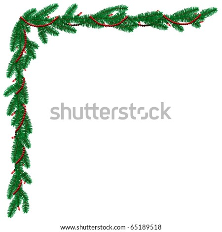 Pine garland border with beads - stock vector