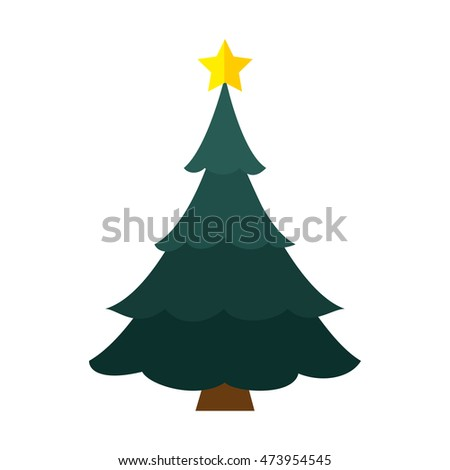 pine tall tree plant with traditional star christmas decoration symbol vector illustration - Tall Christmas Tree