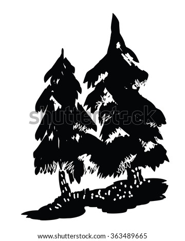 Pine tree black silhouettes - vector illustration of part of coniferous forest. Pine or spruce trees on ground - hand drawn in primitive folk art, retro style. North or wooden symbol, design element.