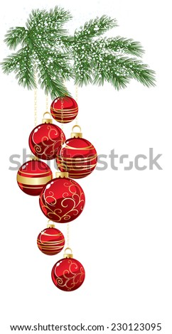 Pine with red bauble - stock vector