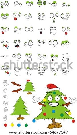 pine xmas cartoon set in vector format very easy to edit - stock vector