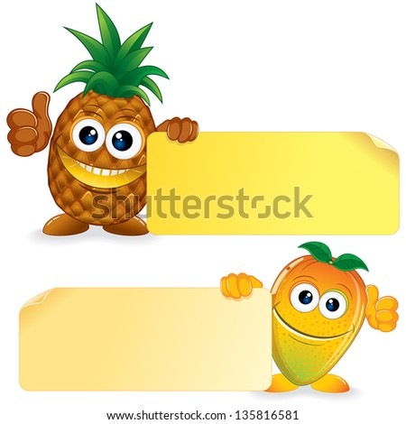 Pineapple and Honey Mango. Funny Fruits with Blank Sign. Vector Cartoon Illustration - stock vector