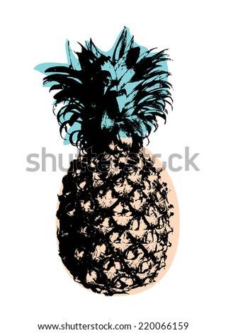 pineapple art/pop art vector/illustration - stock vector