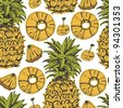 Pineapple background - stock photo
