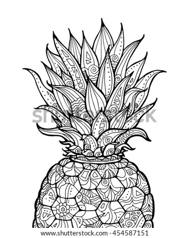 Pineapple Exotic Fruit Floral Pattern Vector Stock Vector HD ...