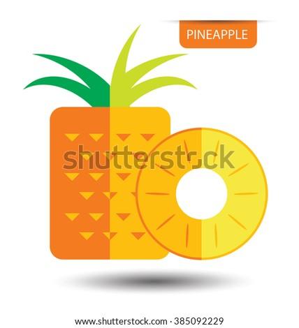 Pineapple, fruit vector illustration - stock vector