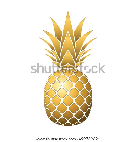 gold pineapple clipart. pineapple gold icon. tropical fruit, isolated on white background. symbol of food, clipart