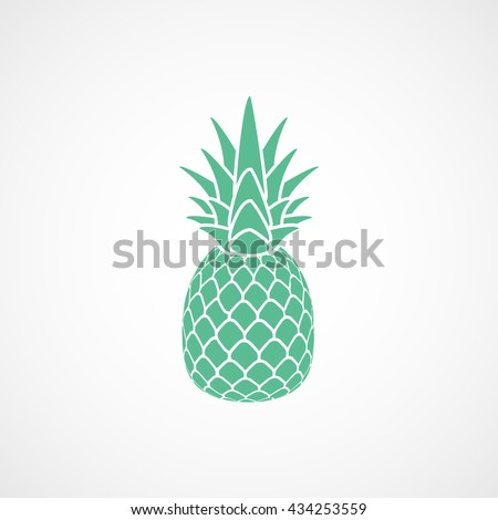 Pineapple Green Flat Icon On White Background - stock vector