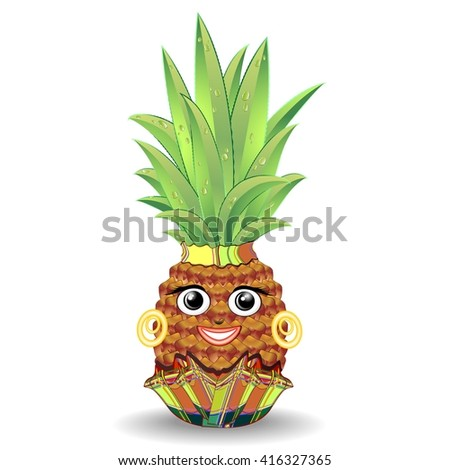 Pineapple Happy Face - stock vector