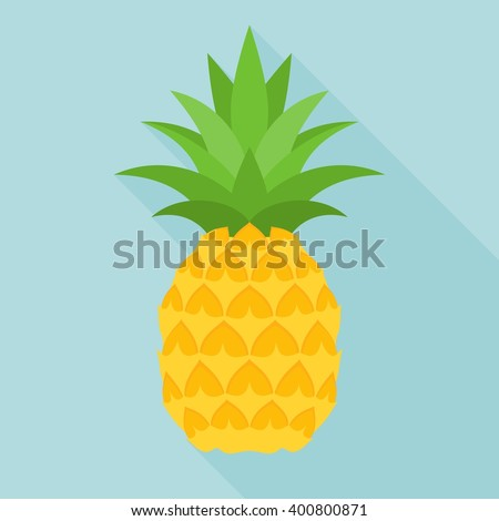 pineapple icon with long shadow, flat design