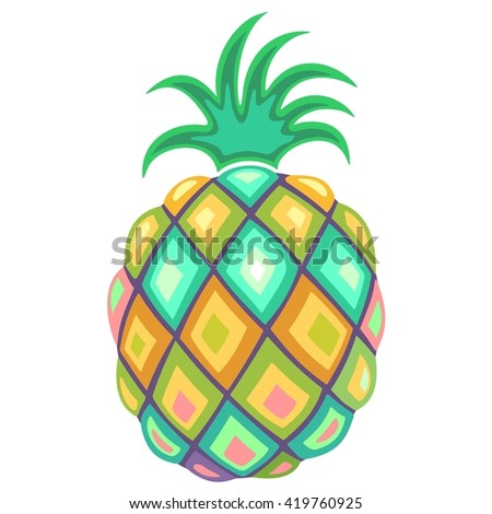 Pineapple Pastel Colors - stock vector