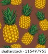 pineapple seamless pattern - stock photo