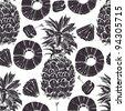 Pineapple seamless pattern - stock vector