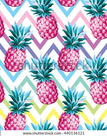 Pineapple seamless pattern on an abstract geometrical background. Vector illustration. - stock vector