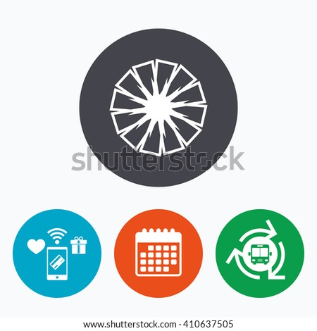 Pineapple slice sign icon. Ananas exotic tropical fruit symbol. Mobile payments, calendar and wifi icons. Bus shuttle. - stock vector