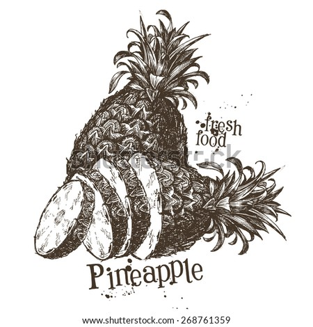 pineapple vector logo design template. fruit or food icon. - stock vector