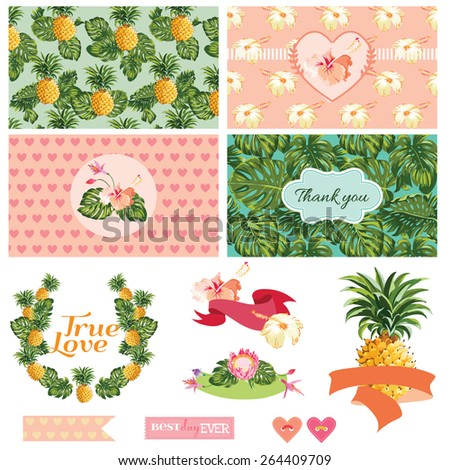 Pineapples and Tropical Leaves Background -Vintage Pattern - in vector  - stock vector