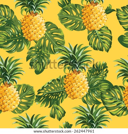 Pineapples and Tropical Leaves Background -Vintage Seamless Pattern - in vector - stock vector
