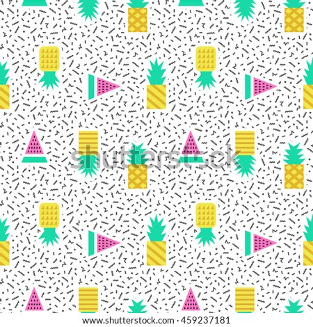 Pineapples geometric seamless pattern in 80s, 90s style. Modern print, wrapping paper, cards, posters, banners designs. Vector illustration