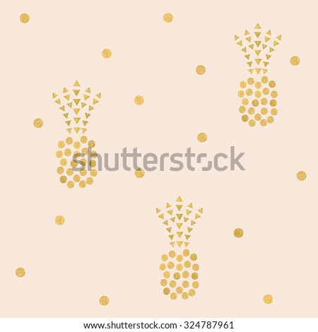 Pineapples. Seamless pattern with golden pineapple. Vector. - stock vector