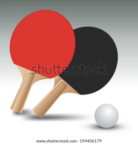 Ping pong rackets with ball. Table Tennis. Vector illustration - stock vector
