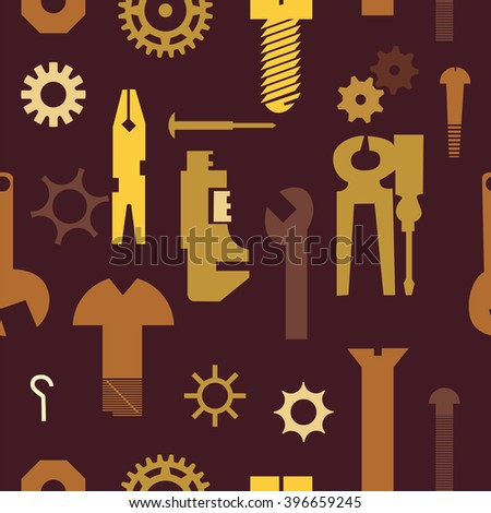 Pinion seamless pattern. Vector seamless background of engineering tools