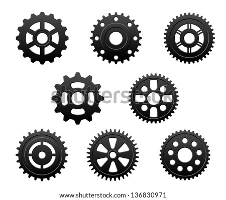 Pinions and gears set for any industrial design. Jpeg (bitmap) version also available in gallery - stock vector