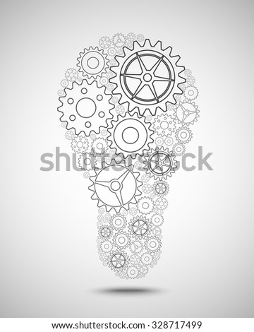 Pinions as a design element light bulb - stock vector