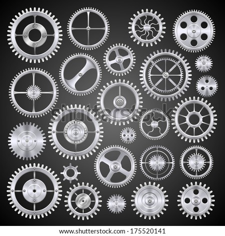 Pinions mechanisms. Vector - stock vector