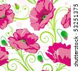 Pink Abstract Elegance seamless floral pattern. Beautiful flowers vector illustration texture with poppy. - stock vector