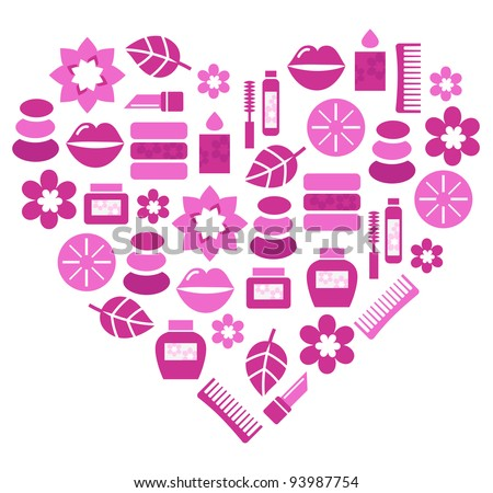 Pink abstract heart from cosmetic accessories isolated on white - stock vector
