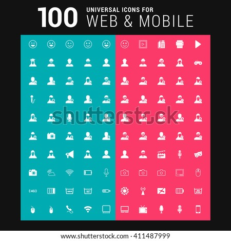 Pink and Blue background 100 universal Icon Set for web and mobile - stock vector