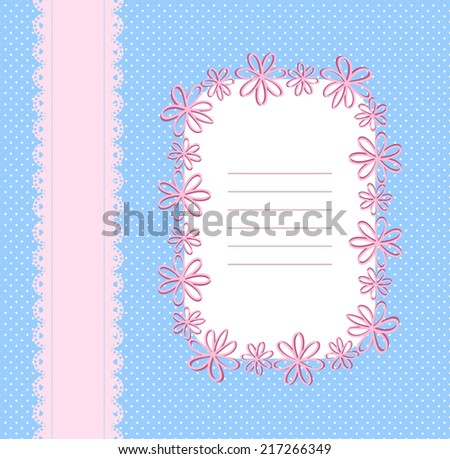 Pink and blue background with lace ribbon, a pattern of small circles and  floral frame  - stock vector