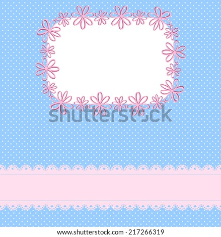 Pink and blue background with lace ribbon, a pattern of small circles and the frame  - stock vector