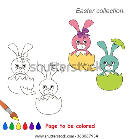 Pink And Blue Bunny To Be Colored Game For Kids