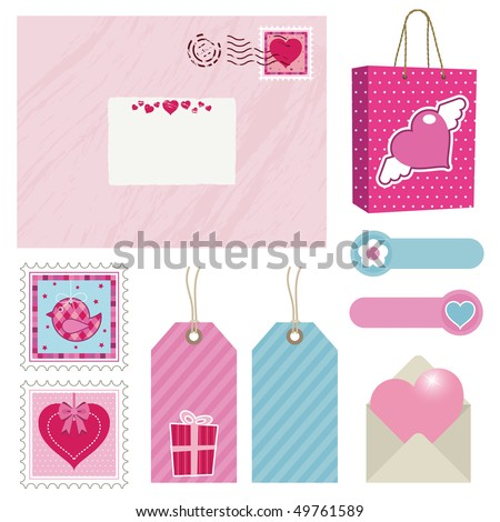 pink and blue postage set with stamps, bag and tags