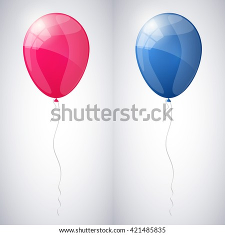 Pink and blue shiny glossy balloons. Vector illustration. - stock vector