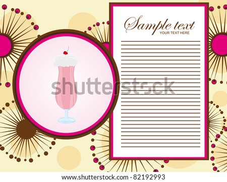 pink and brown milk shake menu over abstract flowers background. vector - stock vector