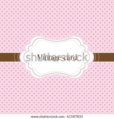 Pink and brown vintage card, polka dot design - stock vector