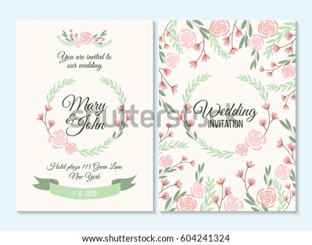 pink and green invitation