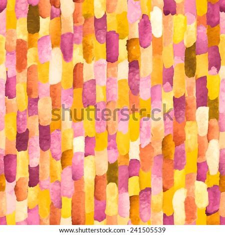 Pink and orange watercolor bricks. Vector abstract seamless pattern. - stock vector