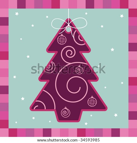 pink and purple christmas tree decoration card - stock vector