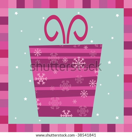 pink and purple gift decoration greeting card - stock vector