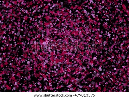 Pink and purple star confetti background. Festive texture on black background.